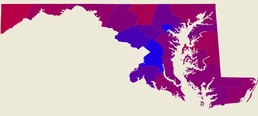 2008 Maryland Presidential Results in Gradient