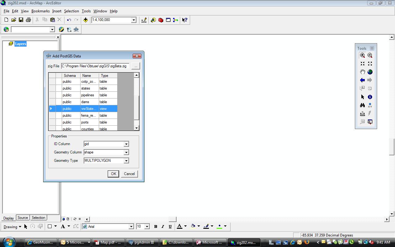 zigGIS 2.0.2 layer selector (click to enlarge)