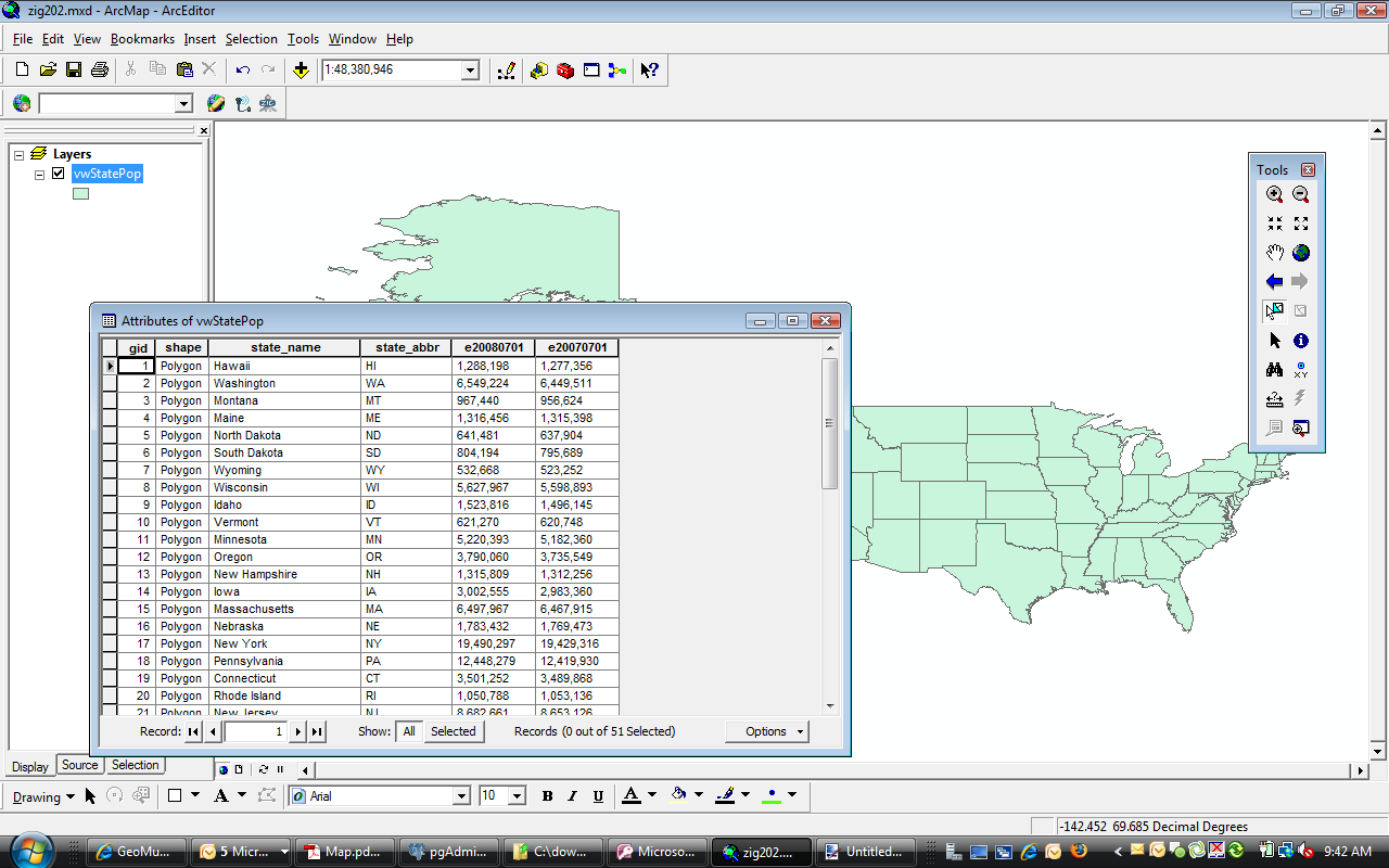 PostgreSQL/PostGIS spatial view displayed in ArcMap. (click to enlarge)