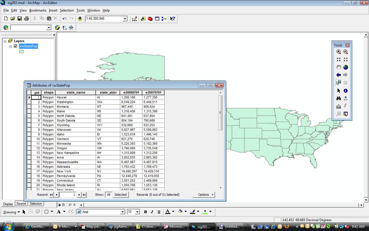 PostgreSQL/PostGIS spatial view displayed in ArcMap. (click to enlarge)